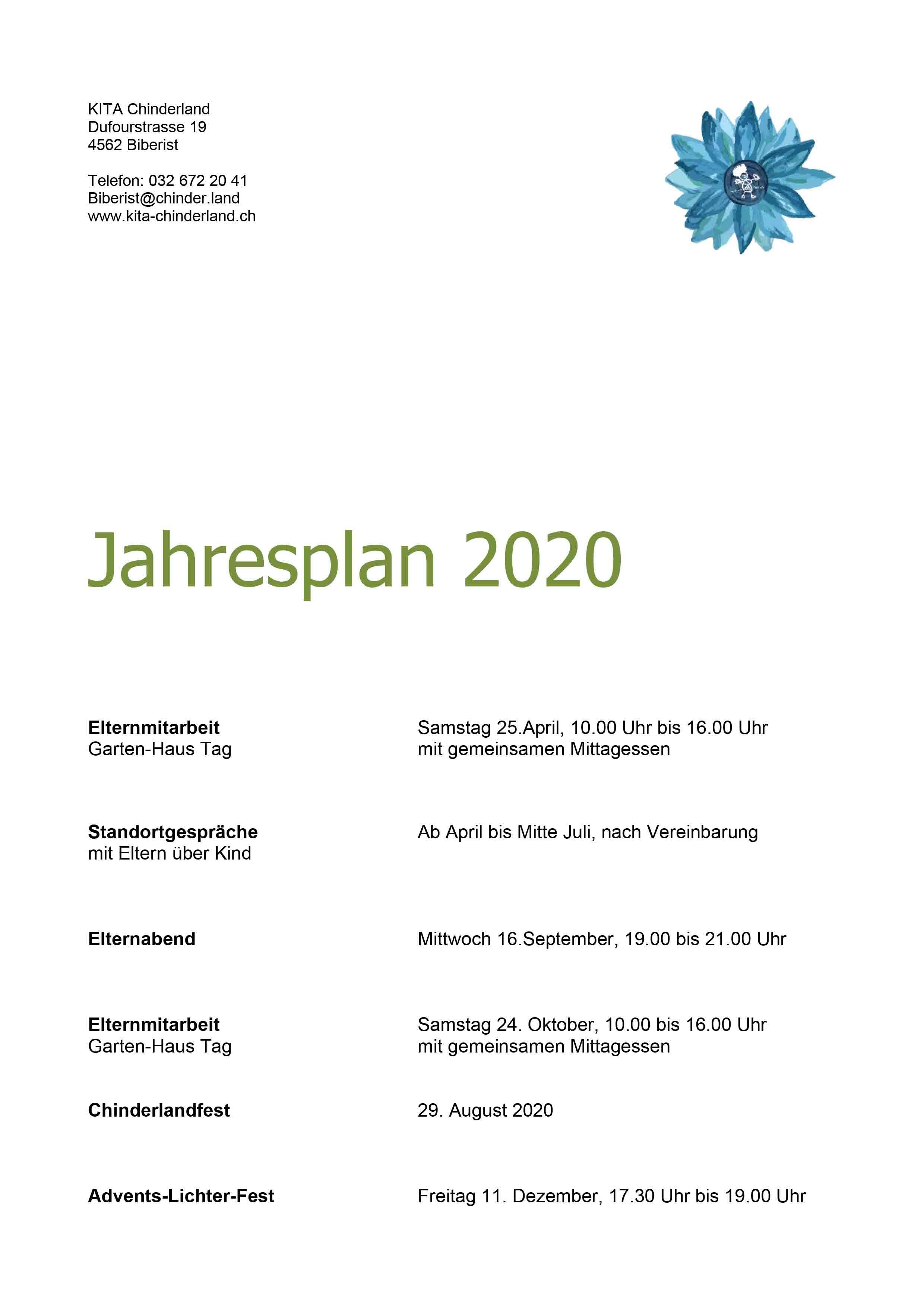 Jahresplan 2020 Biberist